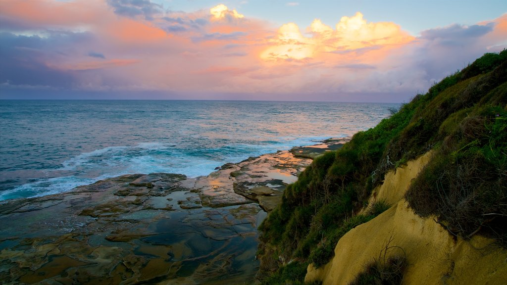 Terrigal featuring rocky coastline, a bay or harbor and a sunset