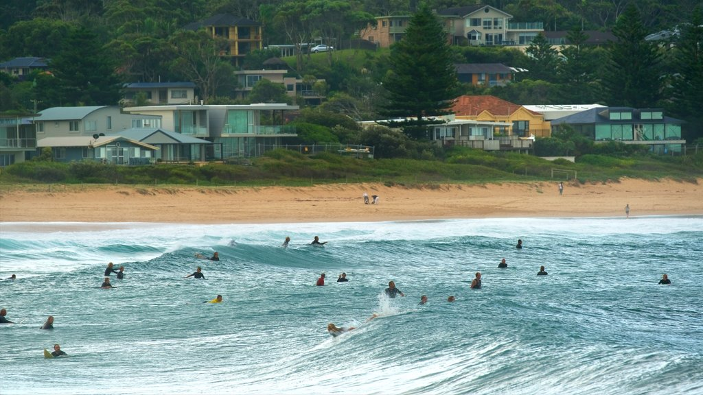 Avoca Beach which includes surf, a bay or harbor and a beach