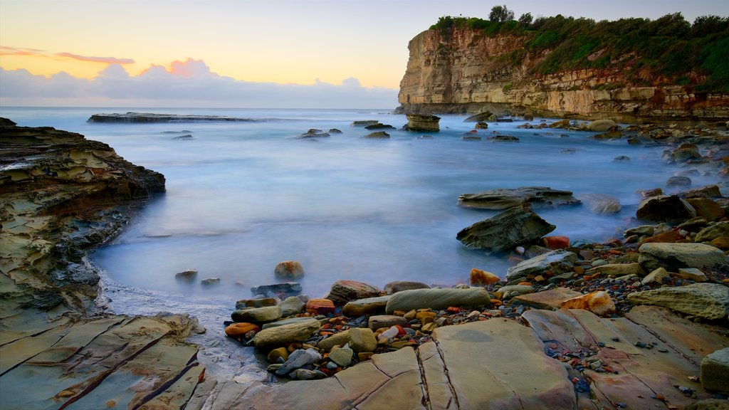 Terrigal featuring rocky coastline, a sunset and a bay or harbor
