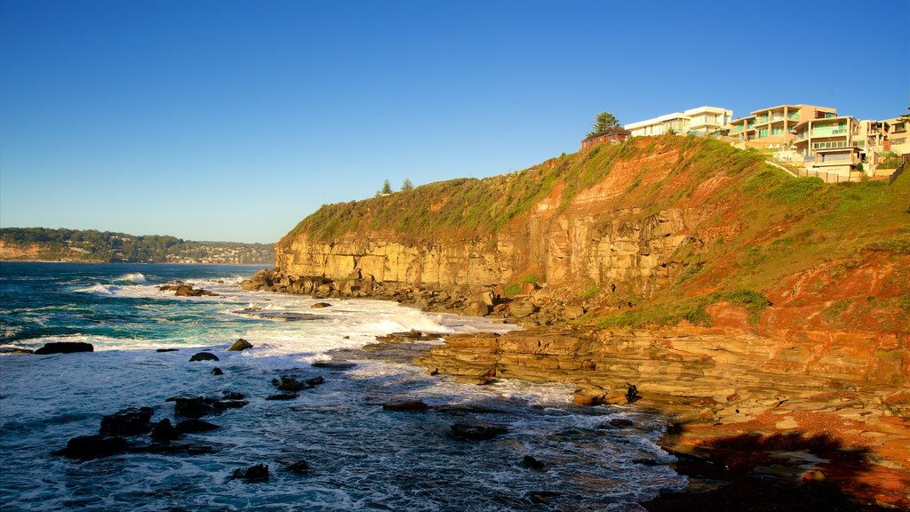 Terrigal featuring rocky coastline, a bay or harbor and surf
