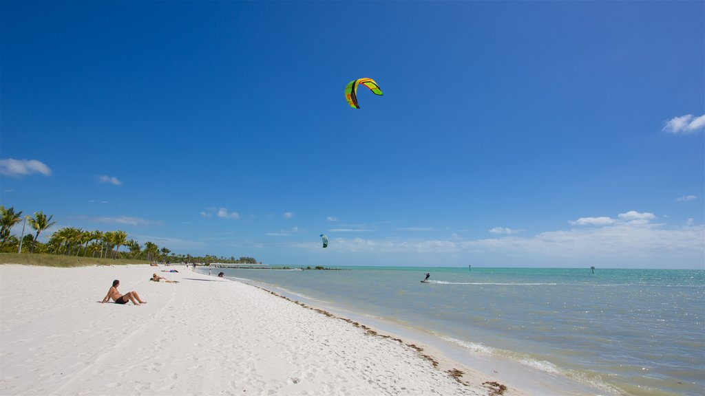 Smathers Beach which includes a bay or harbor, a beach and kite surfing