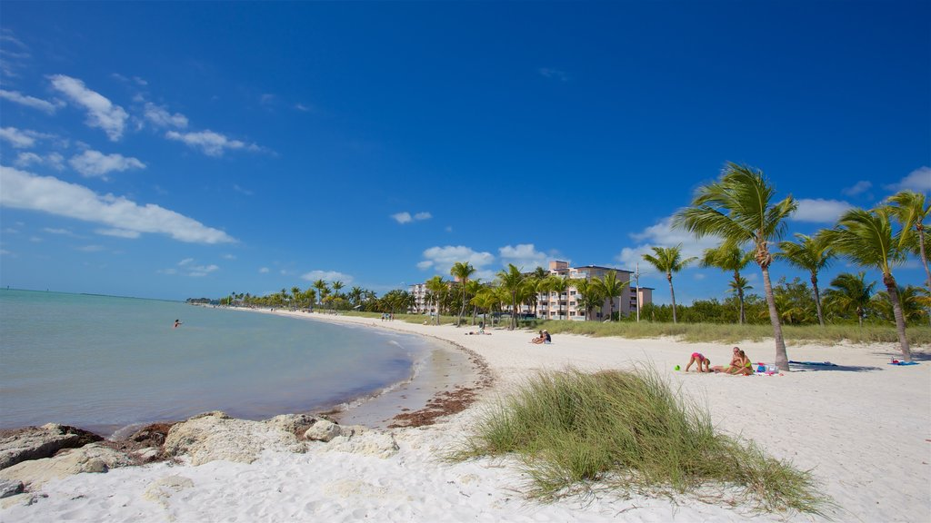 Smathers Beach which includes a beach and a bay or harbor as well as a small group of people