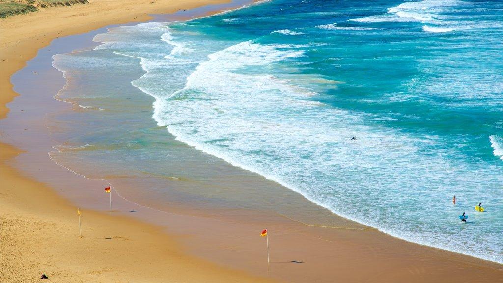Nobbys Head Beach featuring waves, a bay or harbor and a sandy beach