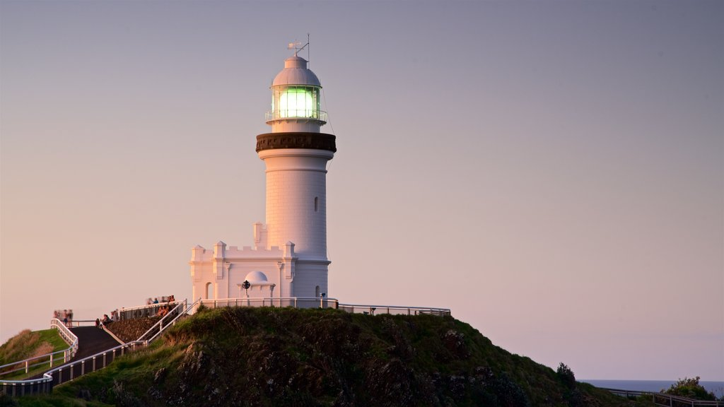 Cape Byron Lighthouse which includes a lighthouse and a sunset