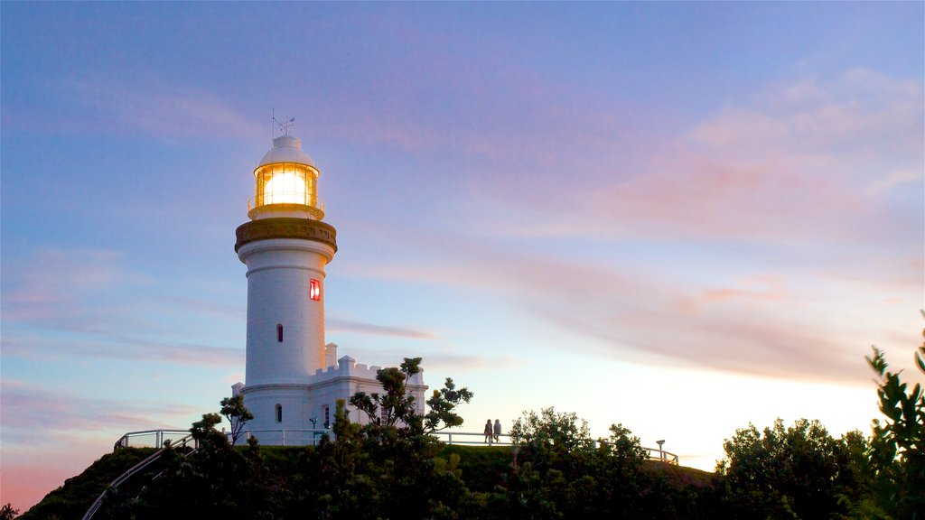 Cape Byron Lighthouse featuring a sunset and a lighthouse