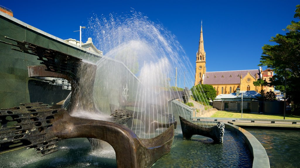 Newcastle showing a fountain, heritage architecture and a church or cathedral