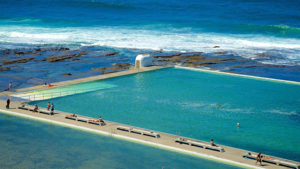 Newcastle mostrando una alberca, vistas generales de la costa y natación