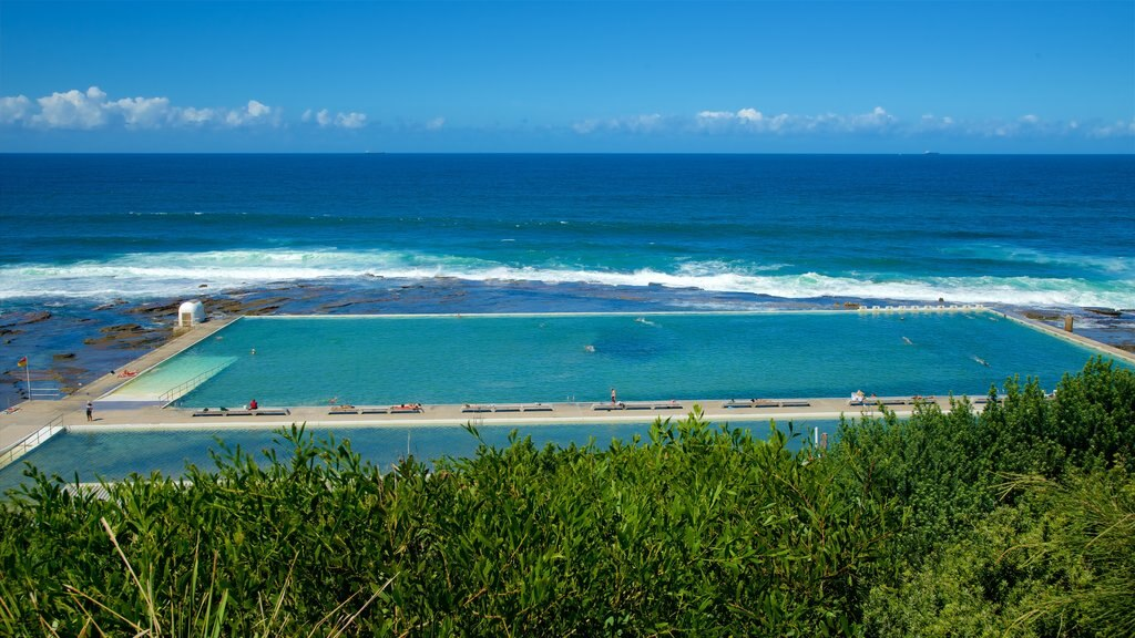 Merewether showing a pool and general coastal views