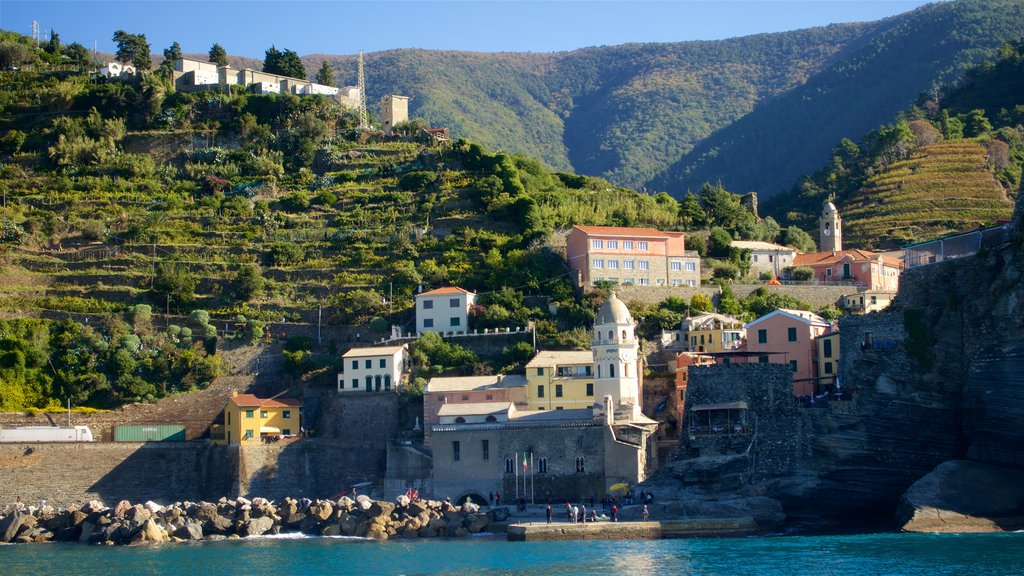 Vernazza which includes a bay or harbor, tranquil scenes and a coastal town