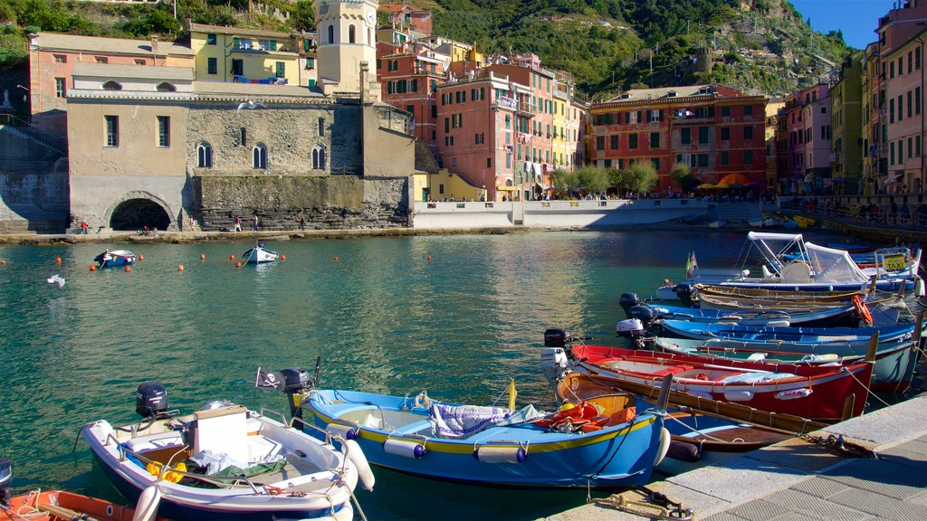 Vernazza featuring a bay or harbor, a coastal town and boating