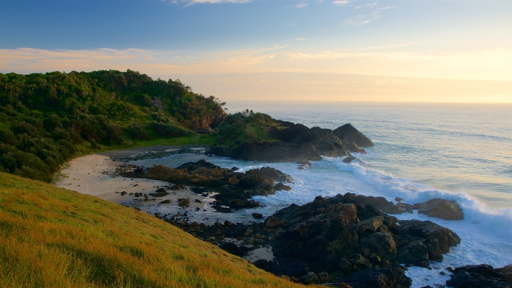 Port Macquarie which includes surf and rocky coastline