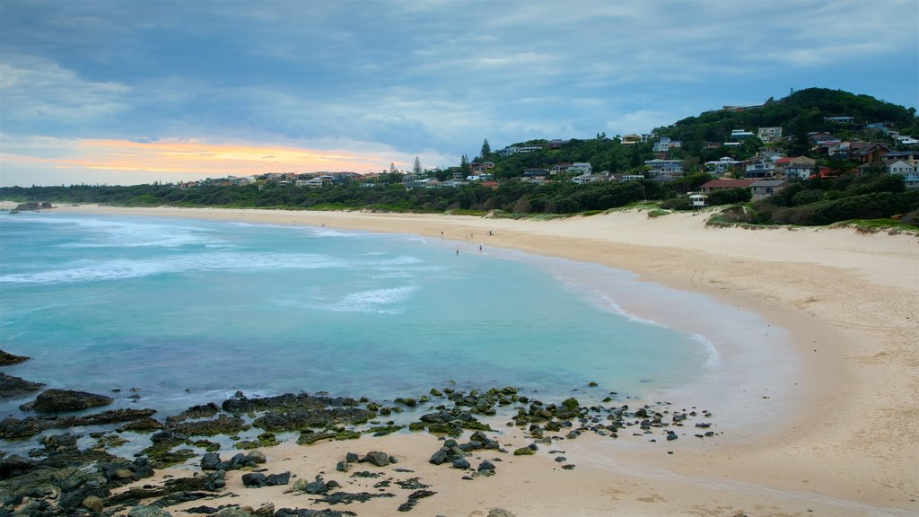 Port Macquarie showing a sandy beach and rugged coastline