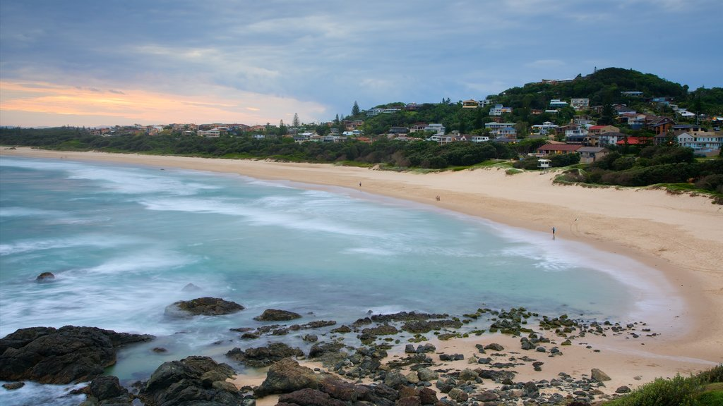 Port Macquarie which includes rugged coastline and a beach