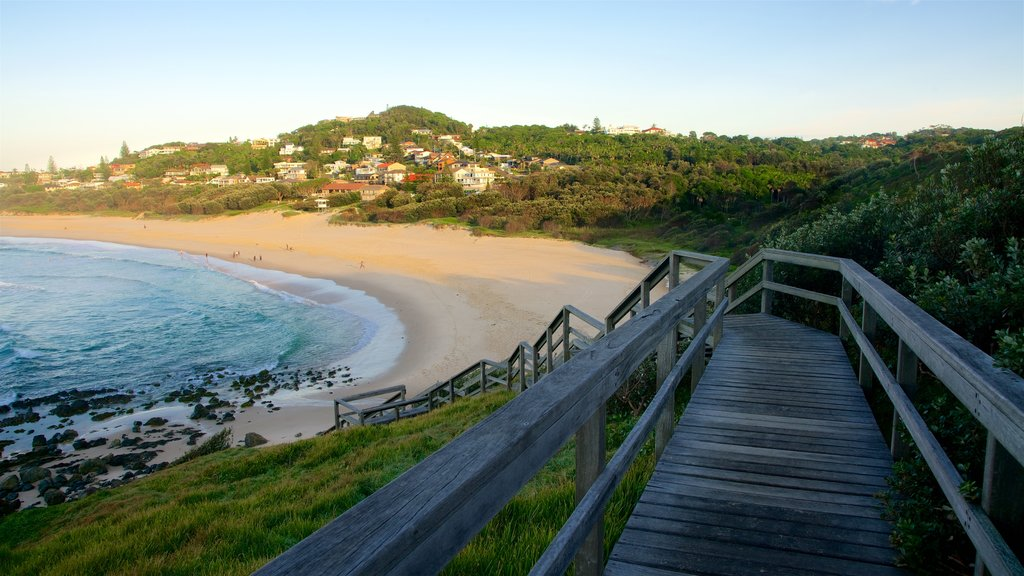 Port Macquarie which includes views, a beach and rugged coastline