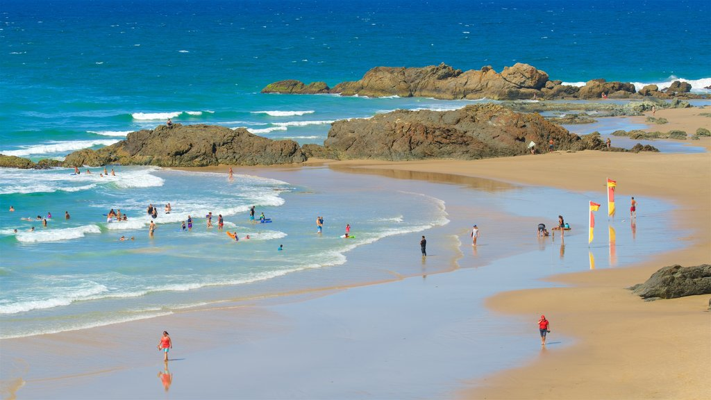 Port Macquarie which includes a bay or harbor, waves and swimming