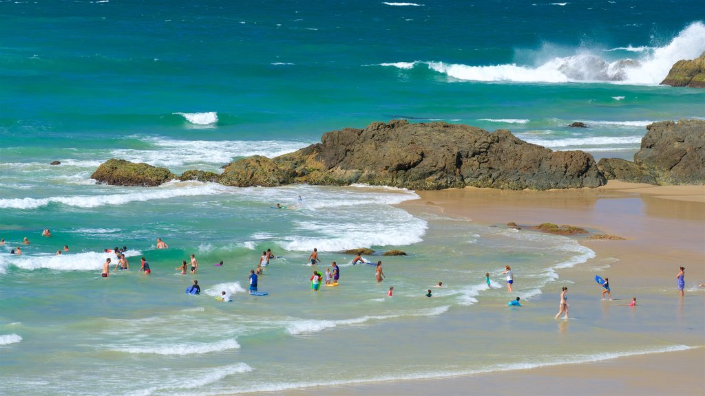 Port Macquarie featuring a bay or harbor, a sandy beach and rugged coastline