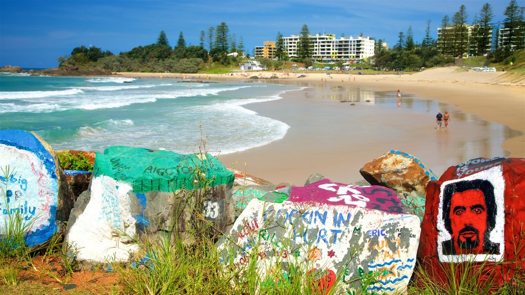 Port Macquarie which includes outdoor art, a bay or harbor and a beach