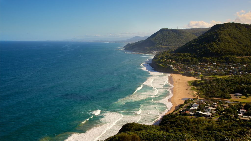 Wollongong showing a sandy beach and a coastal town