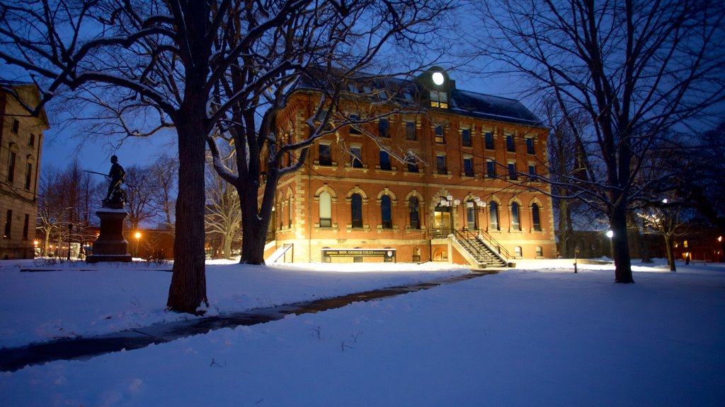 Charlottetown which includes night scenes, snow and heritage architecture