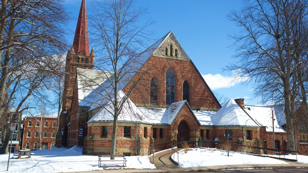 Charlottetown which includes a church or cathedral and snow