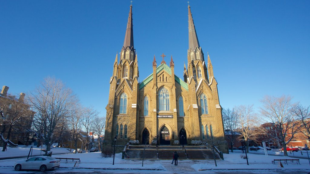St. Dunstan\'s Basilica which includes snow and a church or cathedral