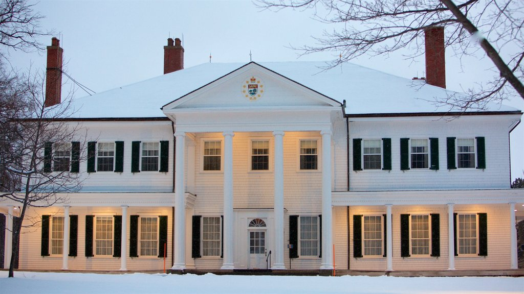Government House of Prince Edward Island which includes snow