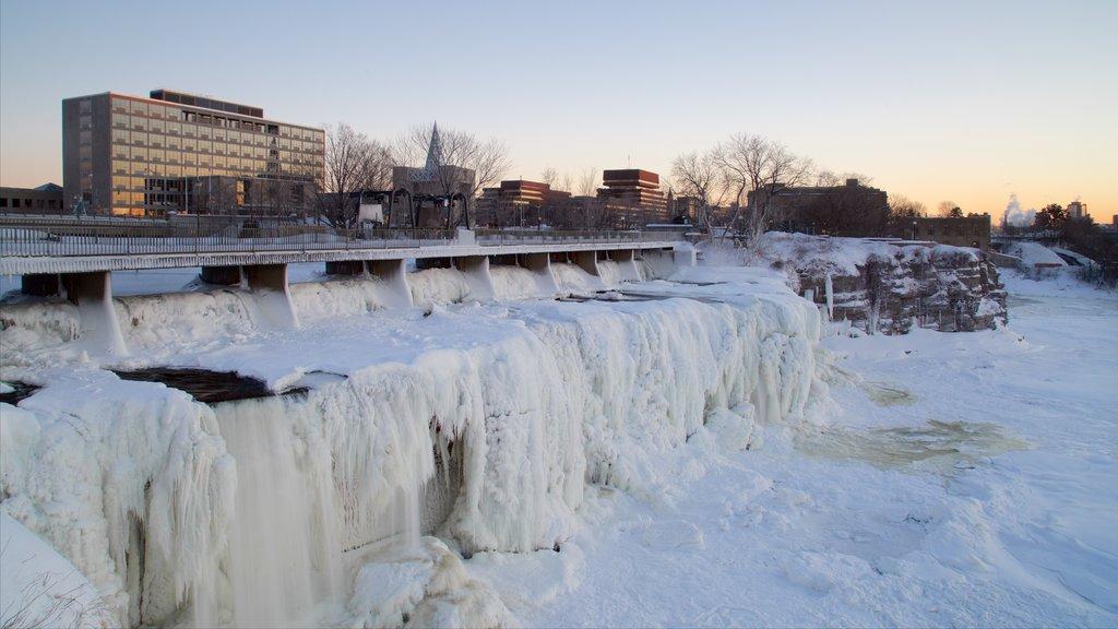 Ottawa featuring a bridge, snow and a cascade