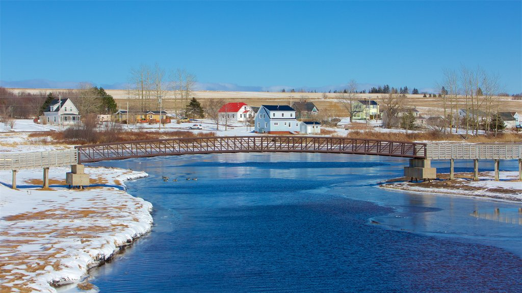 Prince Edward Island featuring a bridge, a lake or waterhole and snow