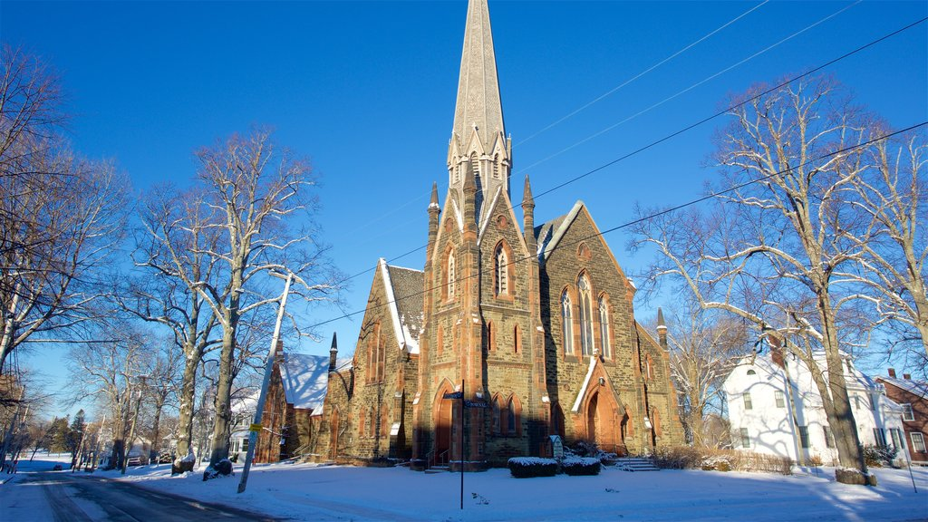 Charlottetown showing snow and a church or cathedral
