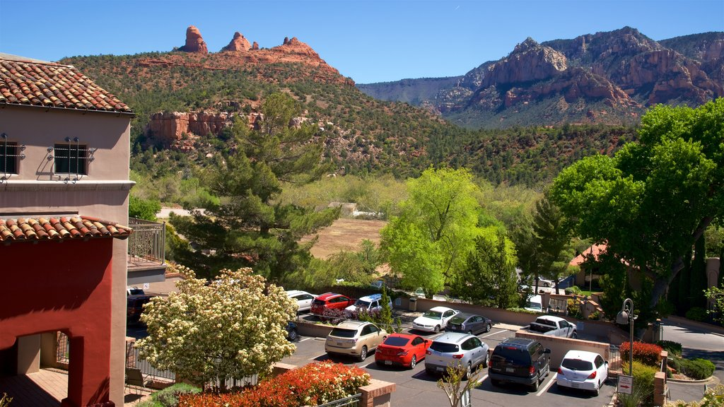 Sedona featuring street scenes, tranquil scenes and a gorge or canyon