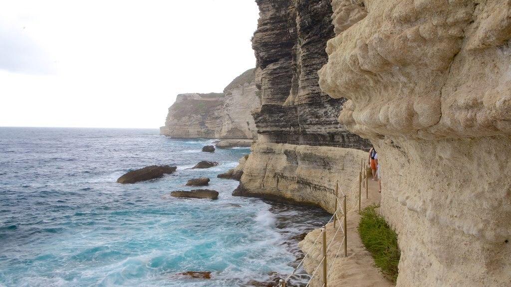 Escalier du Roi d\'Aragon featuring rocky coastline