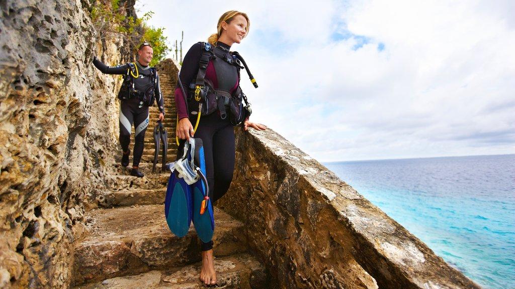Bonaire mostrando buceo y vistas generales de la costa y también una pareja