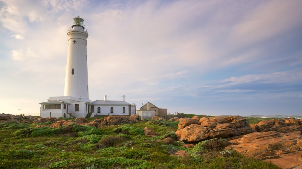 Seal Point Lighthouse que inclui cenas tranquilas, um farol e um pôr do sol