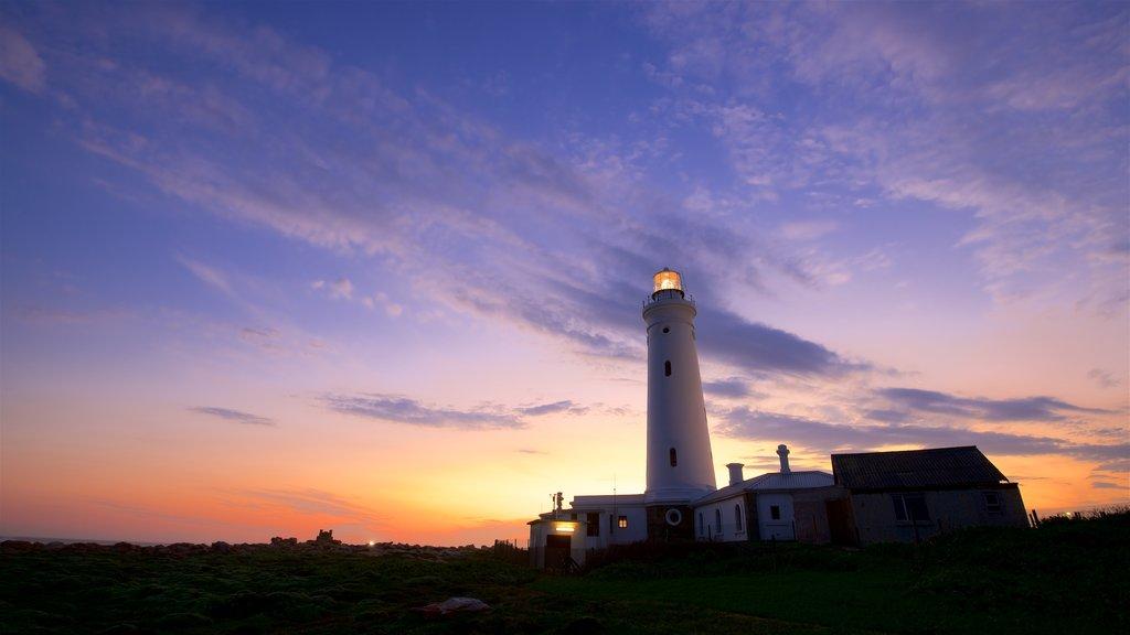 Seal Point Lighthouse que inclui um pôr do sol e um farol
