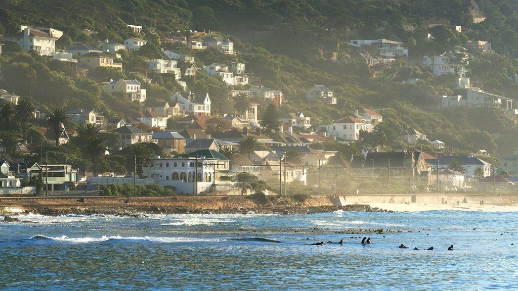 Kalk Bay which includes rocky coastline, a coastal town and a bay or harbor