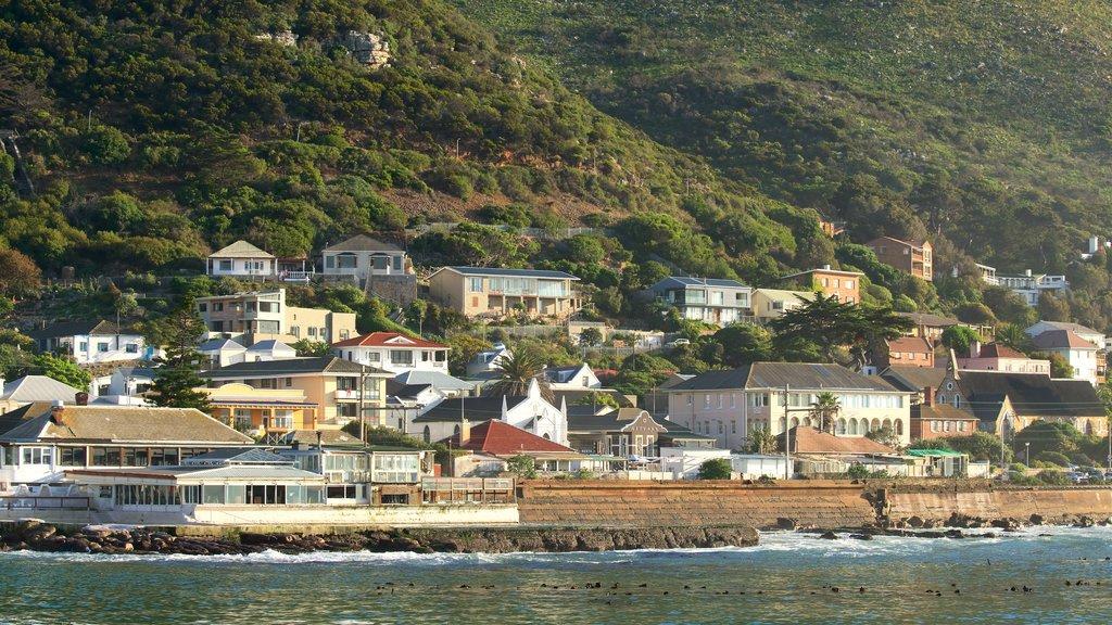 Kalk Bay which includes rocky coastline, a bay or harbor and a coastal town