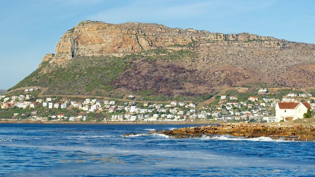 Kalk Bay featuring a coastal town, landscape views and rugged coastline