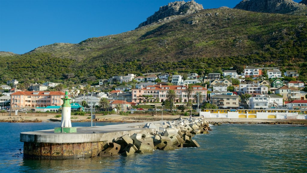 Kalk Bay showing a monument, a bay or harbor and a coastal town