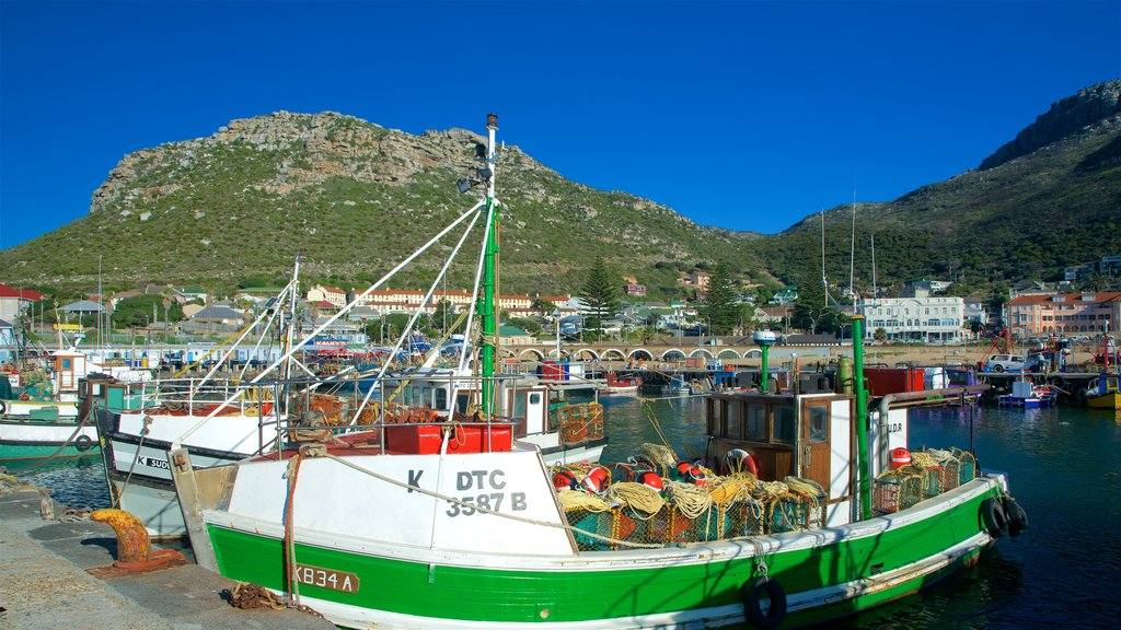 Kalk Bay which includes a bay or harbor, boating and a coastal town