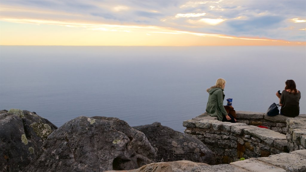Table Mountain showing views as well as a small group of people