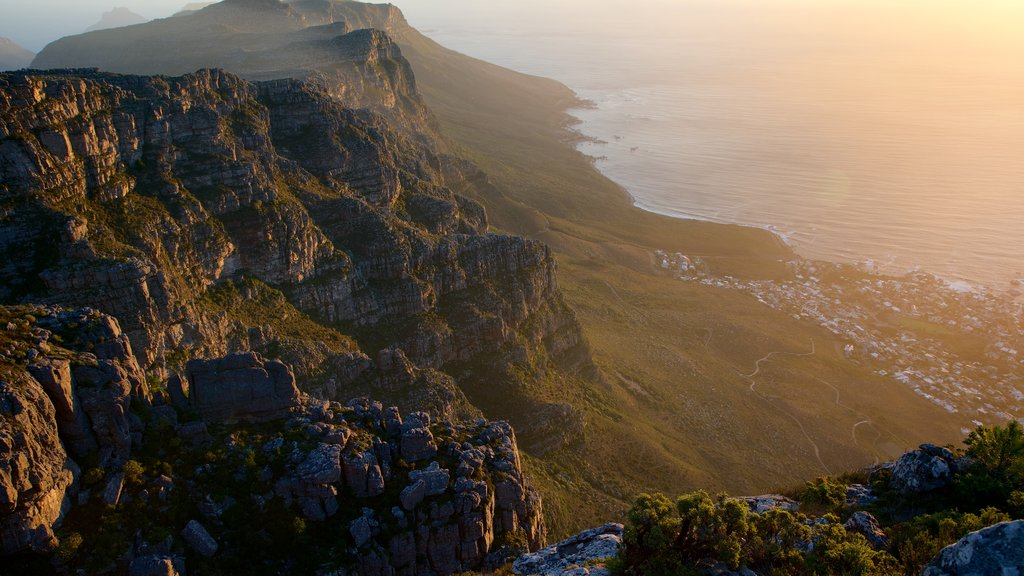 Table Mountain featuring a sunset