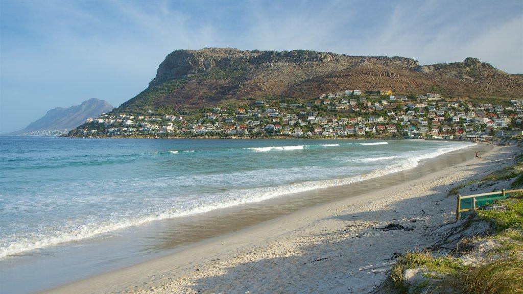 Fish Hoek Beach which includes a beach and a coastal town