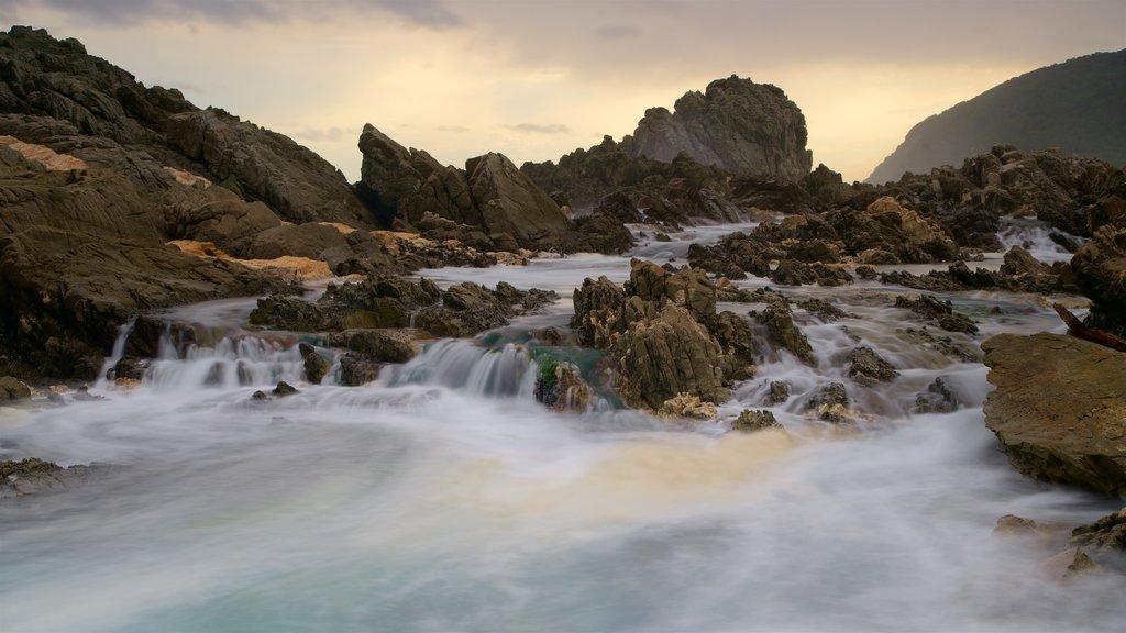 Parque Nacional Tsitsikamma que incluye olas y costa escarpada