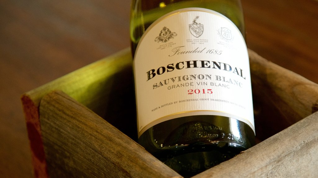 Boschendal Estate which includes signage, drinks or beverages and interior views