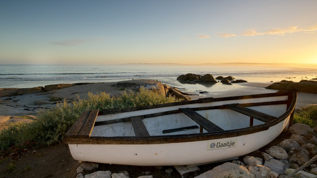 Paternoster Beach which includes a beach, a sunset and boating