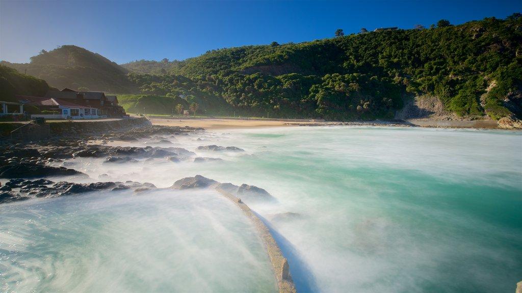 Victoria Bay Beach which includes a beach, rugged coastline and general coastal views