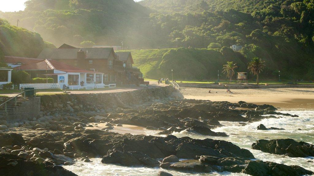 Victoria Bay Beach featuring a beach, a coastal town and rugged coastline