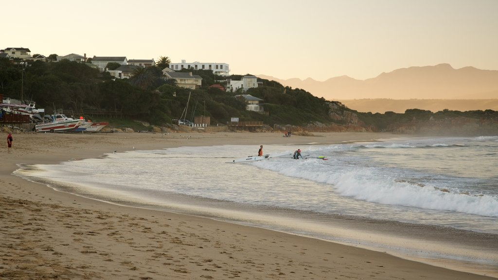 Plettenberg Bay Beach featuring a coastal town, a beach and kayaking or canoeing