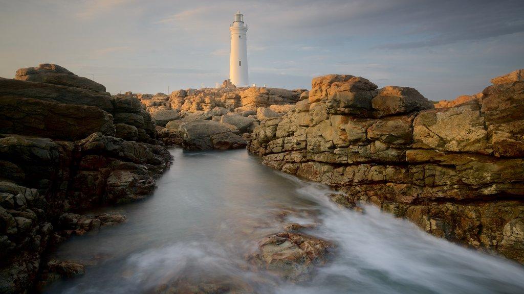 Seal Point Lighthouse que inclui litoral acidentado, paisagens litorâneas e um farol