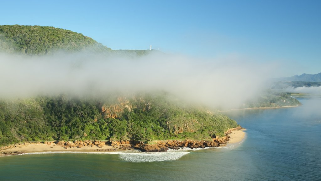 Knysna which includes landscape views, mist or fog and general coastal views